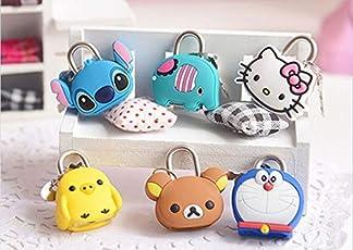 Max Home Trendy Mini Cute Creative Cartoon Animal Silicone Metal Small Lock for Keys Diary Drawer Padlock for Bags Key Holder