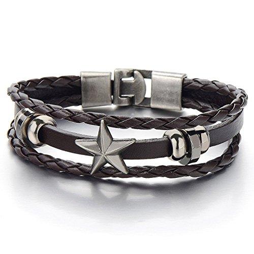 COOLSTEELANDBEYOND Stern Multi-Strang Braun Leder-Armband Wickeln Schweißband Jungen Herren Damen Armband Geflochtenes Leder