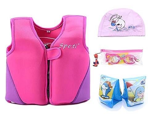 genwiss Enfant de bain petit Life pour Femme Rose 18mois–2ans: bain Bras de Groupe et lunettes de natation et bonnet de natation