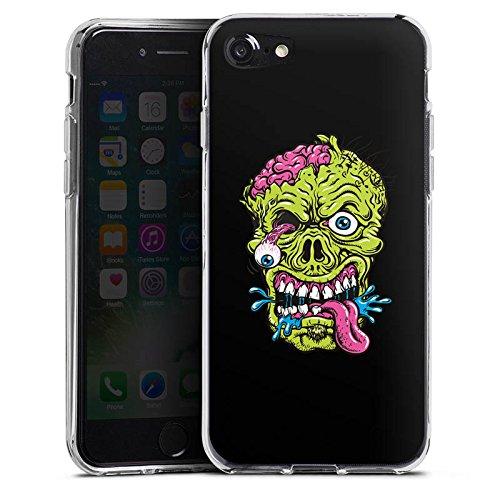 Apple iPhone X Silikon Hülle Case Schutzhülle Zombie Halloween Gruselig Silikon Case transparent