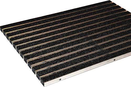 EMCO Eingangsmatte DIPLOMAT Rips anthrazit 22mm ALU Fußmatte Türmatte Schuhabstreifer Abstreifer, Größe:740 x 490 mm