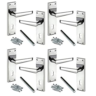 4 Pairs of Lever Lock Door Handles [by XFORT] Classic Victorian Polished Chrome Door Handles, Internal Door Handles for Homes and Offices Where Lock and Key Control Access is Required. (4)