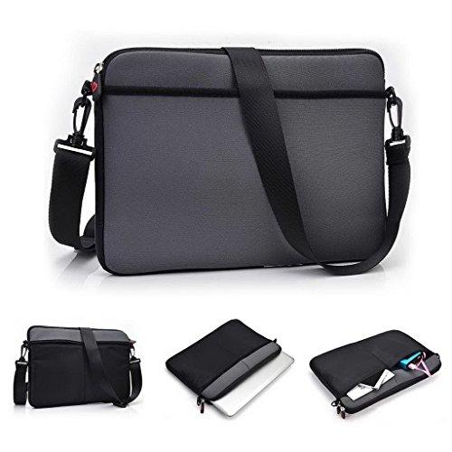 Kroo uneversal Messenger/Sleeve Tasche mit Zubehör Tasche und Schulterriemen passt für Fujitsu LifeBook U772 grau grau