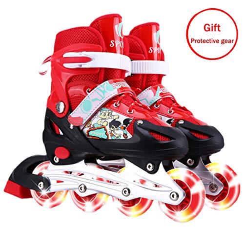 es Verstellbare Rollschuhe Größenverstellbare Roller Skates Für Mädchen Und Jungen in Vier Farben Erhältlich (Mit Schutzausrüstung),Red,S(26~32EU ()