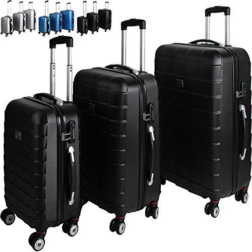 Set di 3 valigie rigide con chiusura a combinazione Blu – Set di valigie Set di trolley Valigie da viaggio
