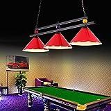 WSR Lámparas de Araña, Mesa de la Sala de Billar Luces Colgantes, Restaurante Café Lámparas de Techo Retro sin Sombra,Rojo,3 Cabezas