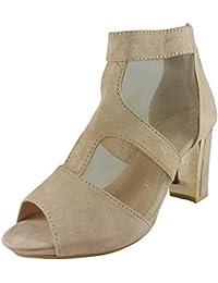 Loudlook Nouvelle Femme Mesdames Peeptoe Mesh Cheville Et Talon Carr¨¦ Mi Faux Suede Shoes Bottes Taille 3-8