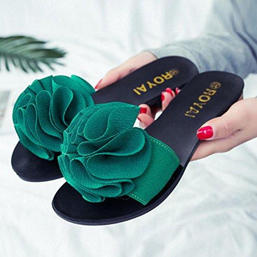 Transer ® Femmes fleur plage sandales plates antidérapantes chaussons Vert