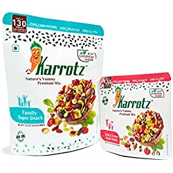 Karrotz - Healthy Mix Of Top Quality Berries, Fruits, Nuts, Seeds & Grams For Breakfast, Topping Or Snacking. (1 Family + 1 Choco-Chips Variant)