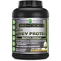 Amazing Muscle 100% Whey Protein Powder - 5 Lbs - Delicious Vanilla Flavor