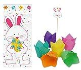 Oster-Backset 'Happy Easter Bunny' - 12 Stück Tulpen Muffinförmchen mit 8 Stück Fähnchen + 20 Stück Cellobags - Osterparty - Cupcake - Osterhase - Osterei - Ostern