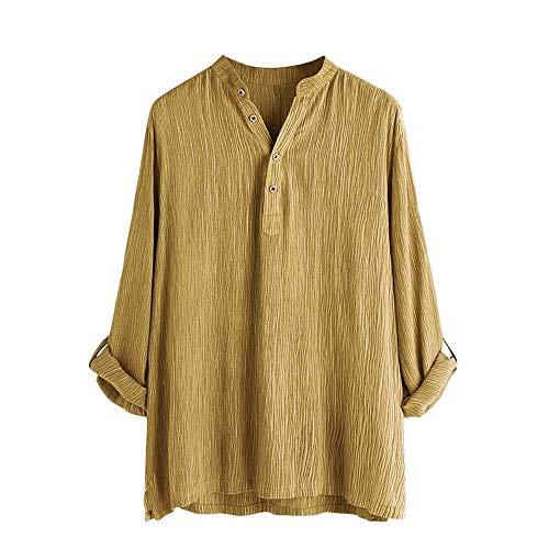 Beonzale Mens beiläufige Baumwolle Breathable Feste Lange Hülsen-Sommer-Knopf-T-Shirt Bluse Hemden Top Bluse - Baumwolle Mock Neck Herren T-shirt