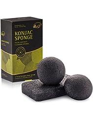 Kaiercat Konjac Éponge pour visage & corps 100% Naturelle, doux gommage, nettoyage en profondeur, pour peau sensible, grasse et à tendance acnéique (Bamboo Charcoal)