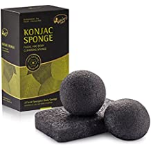 Esponja Facial & Corporal Kaiercat Konjac 100% Natural, Exfoliante Suave, Limpieza Profunda, para Piel Sensible Propensa a Grasa y Acné (Carbón de Bambú)