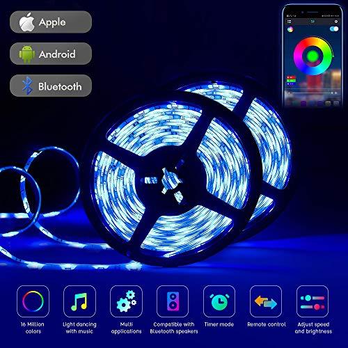 Tehwaaz LED Streifen, Bluetooth LED Strip 10m LED Band RGB LED Strips Ip65 Wasserdicht 5050 300 LED Stripes Mit Smart Bluetooth Kontroller LED Deckenleuchte Mit Fernbedienung Dimmbar LED Stripes