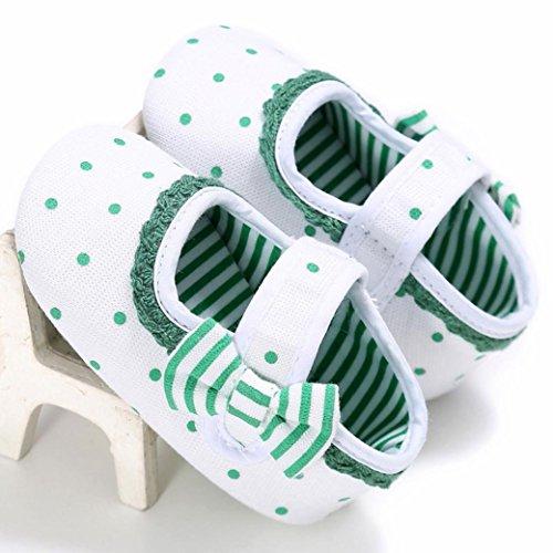 Babyschuhe Longra Baby Kleinkind Kinder Mädchen weichen Sohle Krippe Kleinkind Neugeborenes Stoff Frühjahr-Sommer Krippeschuhe Lauflernschuhe(0 ~ 18 Monate) Green