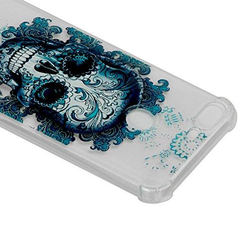 Coque Huawei Honor 9 Lite, Coque Huawei Honor 9 Lite Étui Silicone Transparente, Surakey [Silicone Renforcé Antichoc] Souple Housse Téléphone Couverture Protection en TPU Caoutchouc avec Absorption de Choc Bumper Semi Hybrid Crystal Clair Etui Housse pour Huawei Honor 9 Lite, Motif Colorés Imprimé Mince Housse Étui Protection Anti Choc Doux Gel Skin Case Cover Coque pour Huawei Honor 9 Lite (Crâne)