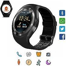 Reloj inteligente CanMixs Y1 Bluetooth Smart Watch Tarjeta Micro SIM con Pantalla Táctil Redonda, podómetro, monitoreo de sueño, mensaje, calendario, llamada y recordatorio sedentario para iPhone, Android, Samsung, Huawei, MI, HTC(negro)