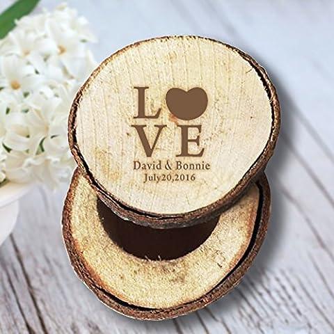 Personalised Bride and Groom Name Wedding Date Love Wedding Ring Box Rustic Wood for Ring Bearer