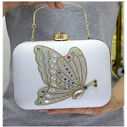 Da Wu Jia Ladies borsetta di alta qualità di lusso donne formale PU/evento/parte / Ufficio Carriera Borsa serale Butterfly Crystal frizione frizioni sacchetti Lady nozze , rosa