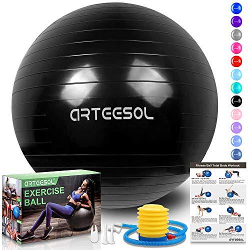 arteesol Gymnastikball, Balance Ball 45cm/55cm/65cm/75cm Yoga Ball mit Pumpe Anti-Burst Fitness Balance Ball für Core Strength (Tinte schwarz, 55cm)