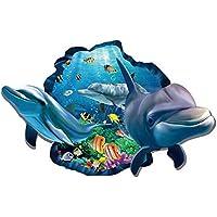 Winhappyhome 3D Dolphin Pesci Undersea Adesivi Mondo Arte Parete per Soggiorno Camera Da Letto TV In Background Murali Stickers Decor Rimovibili