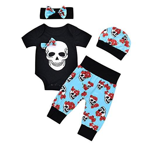 gen Mädchen Totenkopf Strampler + Pants + Hat + Stirnband Halloween Outfit Set (Babys Halloween-outfits)