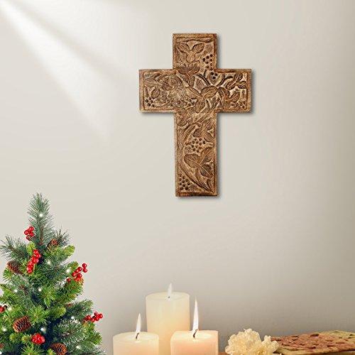 Store Indya - Handgemachte Hölzerne Kreuz - Living Room Home Decor Zubehör - Holz Kruzifix - katholisch - Wand montiert - Antibakterielle (französische Plaque-Sammlung) (Natural Cross Collection)