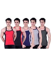 Zimfit Superb Gym Vests - Pack of 5 (RED_BLK_BLU_GRY_GRN)