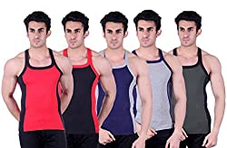 Zimfit Superb Gym Vests - Pack of 5 (RED_BLK_BLU_GRY_GRN_95)