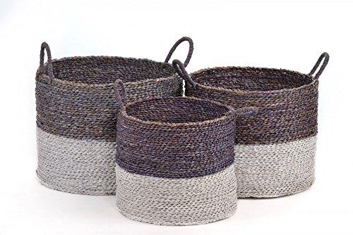 AUFBEWAHRUNGSKORB Flechtkorb RUND in 3 GRÖßEN Seegras Korb Box mit Henkel in grau / braun & weiß Korb-Set Aufbewahrungsbox, Größe:Größe 3 (Seegras-boxen)