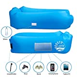 Self Inflating Mat Double, Lauva Nylon Inflatable Lounger se gonfle et maintient l'air 40% mieux que les analogues en raison de l'entrée simple, Air Sleeping Canapé Bed Bed for Beach Camping, pique-nique, Voyage, Park, Pool (Bleu)