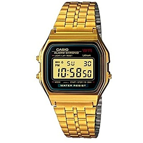 Casio Collection – Unisex-Armbanduhr mit Digital-Display und Edelstahlarmband gold