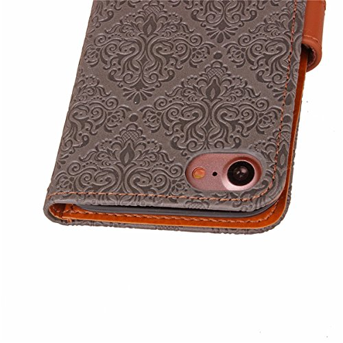 JAWSEU Coque Etui pour iPhone 7,iPhone 7 Leather Case with Strap,iPhone 7 Etui en Cuir Folio Flip Wallet Cover Case,2017 Neuf Style Femme Homme Up and Down Unlock Holster Rabat Portefeuille étui Beaut Gris clair*