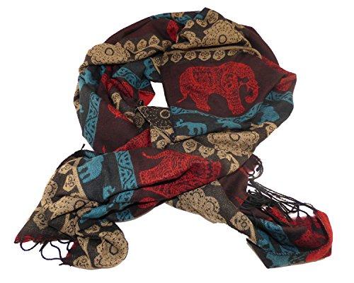 Winterschal Schal Longschal Damen Herren Elefant Ethno Muster Look Fransen (Braun)