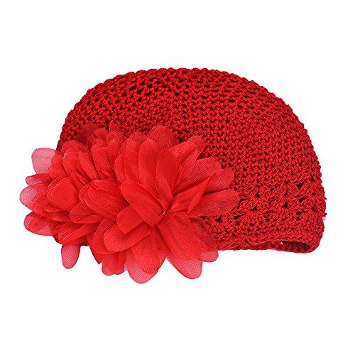 LuckyGirls Mütze Baby kinder Mädchen Spitze Blume Haarband Stirnband Headwear Häkeln Hut (rot)