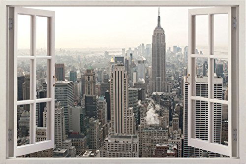 NO.1 HOME DESIGN# HUGE 3D VINYL WALL DECAL STICKER BY BOMBA-DEAL, WINDOW FRAME STYLE HIGH-QUALITY HOME DéCOR ART REMOVABLE WALL STICKER, 85CM X 115CM (NEW YORK CITY URBAN CITYSCAPE VIEW) REVIEWS