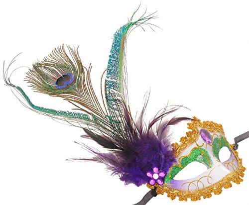 Pfau versieht elegante venezianische Maske Shiny Half Face Halloween-Kostüme Lila (Pfau Venezianischen Maskerade Maske Damen)
