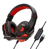 Komfortables Immersives USB-Stereo-Gaming-Headset, Kopfhörer Mit Mikrofon Für Pc-Spiele, Rauschunterdrückung, Geräuscharmes Mikrofon - Schwarz Rot Kopfhörer