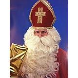 Weihnachtsmann Perücke + Bart deluxe weiss/beige