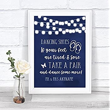1e9ef4a94 Navy Blue Watercolour Lights Dancing Shoes Flip Flops Personalised Wedding  Sign
