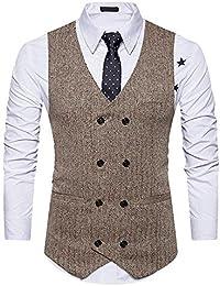 Gilet Uomo Scollo A V Doppio Petto vestibilità Formale Abbigliamento  Aderente Giacca Blazer Smoking Gilet Abito da ba8d5390e86