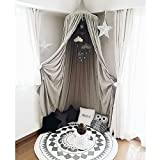 Segolike Canopy Bed Netting Mosquito Bedding Net Dome Baby Kids Reading Play Tents Cotton Gray Color with Hanging Decor Cloud & Star Gift Toys