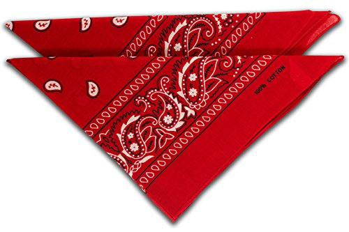 FashionCHIMP Nicki-Halstuch aus 100% Baumwolle im 2er Set, Unisex Bandana, AZO-Frei (Rot) -