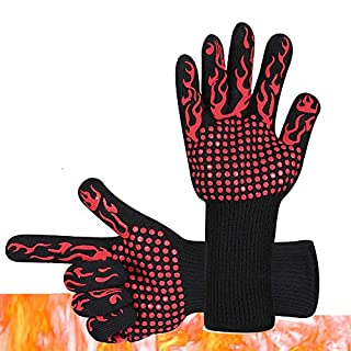Alxcio 932°F Extreme Heat Resistant Gloves,BBQ Grilling Cooking Gloves Oven Mitt Hand Protection from Heat,Kitchen Silicone Gloves Five Fingers,Heat Proof Oven Gloves Set - 1 Pair
