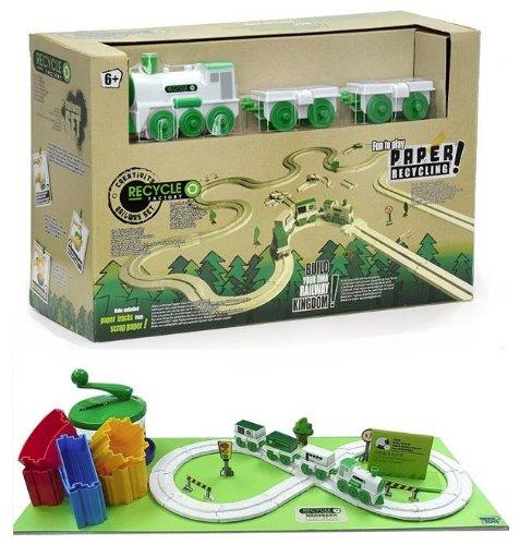 Eisenbahn-Set von CKB Ltd Recycle Factory, umweltfreundliche Eisenbahn, die viel Spaß bereiten, Strecke kann selbst gestaltet und gebaut werden (Zug Viel)