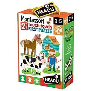 Headu- Montessori Touch 2 Pieces The Farm Puzzle Infantil de Animales de la Granja, Multicolor (IT20874)