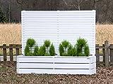 Pflanzkasten Holz lang mit Sichtschutz, Deckend Geölt Weiß