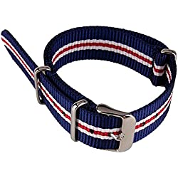 Blue White and Red 3 Colors Stripe Pattern Nylon Fabric Canvas Band Woven Nylon Watch Strap Army Military Watchband 20mm Width