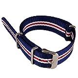 Azul Blanco y Rojo de 3colores de rayas tejido de nylon lienzo Militar del Ejército de correa de reloj de nailon trenzado de banda watchband 20mm de ancho